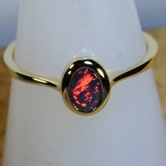 HAND MADE Solid Australian Black Opal Solid 18ct Yellow Gold
