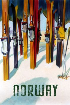 Skis Ski Trail Norway Winter Sport Norwegian Large Vintage Poster Repo FREE S/H #Vintage