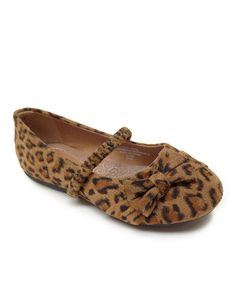 Take a look at this Leopard Teshi Bow Strap Flat by Little Angel on #zulily today!