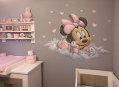 babykamer minnie mouse is part of Minnie mouse baby room - Disney Baby Rooms, Disney Baby Nurseries, Disney Nursery, Baby Disney, Girl Nursery, Girl Room, Minnie Mouse Baby Room, Decoration Minnie, Toddler Rooms