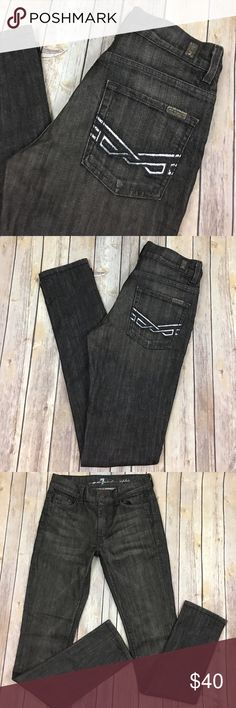 "7 For All Mankind Jeans Sophie Skinny High Waist The jeans are in great used condition! The metallic coating on the rear pockets has come off in a small area.  The jeans are marked QC, but there are no obvious defects. The waist measured across is 15"", the inseam is 33"" and the rise is 9.5"". The color is a dark brownish gray. Always open to reasonable offers. 7 For All Mankind Jeans Skinny"