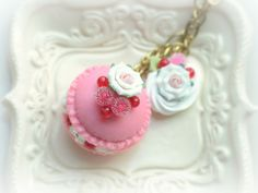 Macaron jewelry rose macaroon necklace handmade by NozomiCrafts ....... WISHLIST .... if anyone wants to surprise me with any of her creations id be thrilled