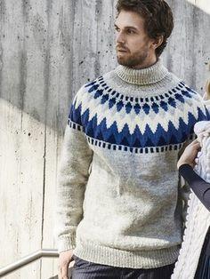 Men's Yoke Sweater Novita 7 Veljestä Icelandic Sweaters, Wool Sweaters, Lace Patterns, Knitting Patterns, Knit In The Round, Fair Isle Knitting, Men Sweater, Swatch, Renewable Energy