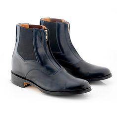 Blue Black Chelsea Vintage Leather Derby Toe Handmade