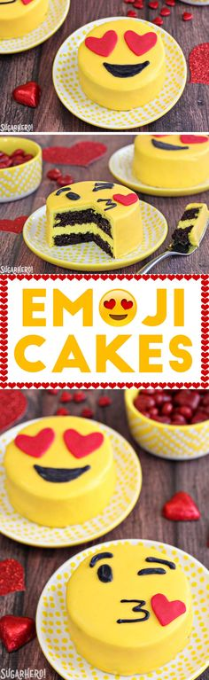 Emoji Cakes - mini chocolate cakes with emoji designs! | From SugarHero.com (Sweet Recipes Cute)