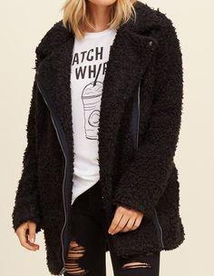 HOLLISTER  WOMEN'S WARM COZY TEXTURED BIKER JACKET SIZE L COLOR BLACK SOLID #HOLLISTER #BasicCoat