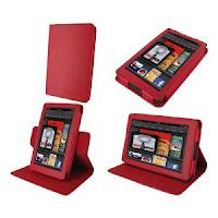 Red rooCASE Dual-View Multi-Angle Red Leather Folio Case  for the Kindle Fire Tablet $26.98