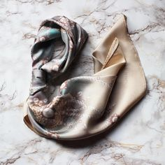 The Pearl scarf from our debut Birthstone collection - to be released later this… Flat Lay Photography, Clothing Photography, Product Photography, Scarf Display, Hair Scarf Styles, Flatlay Styling, Scarf Hairstyles, Silk Scarves, Fashion Photo