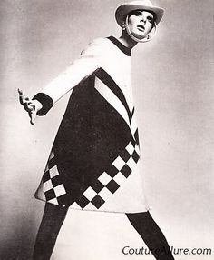 You will be seeing a lot of Mod inspired coats in the stores this fall. I can promise you the quality of today's coats will not hold a can. Retro Fashion 60s, Vintage Fashion, Gothic Fashion, Vintage Coat, Looks Vintage, 20th Century Fashion, Black And White Design, Op Art, Oeuvre D'art