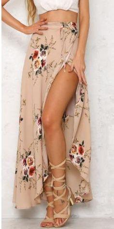 Boho Floral Print Maxi Skirts