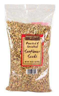 Roasted Unsalted Sunflower Seeds  ---  $2 at Trader Joes OR $1.50-$2 bulk at Winco  --  GOOD Trail mix alternative to peanuts