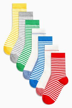 cc28924e4c249 Buy Multi Primary Stripe Socks Seven Pack (Younger Boys) from the Next UK  online shop