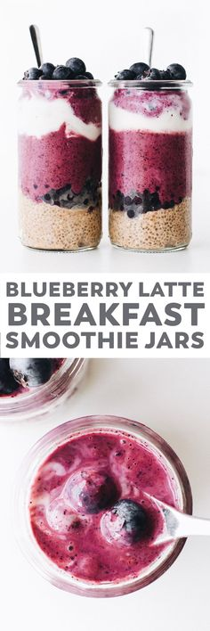 Blueberry latte breakfast jars! Cold brew chia pudding swirled with a TWO ingredient (banana-free) smoothie. Just the quick healthy thing for your morning! #vitamixpartner #vegan #glutenfree #breakfast #healthy #easy #easyrecipe #blueberry #dairyfree
