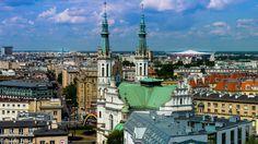 Panorama von Warschau mit Nationalstadion im Hintergrund / Skyline of Warsaw with Nationalstadium in the background