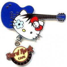 Hard Rock Cafe Fukuoka 2011 Hello Kitty Instrument Guitar Pin #hardrock #hellokitty