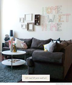 DIY Nail and Yarn Wall Art from Jen Loves Kev