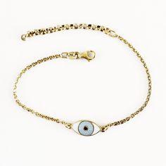 GOLDPLATED MINI THIRD EYE BRACELET LIGHT BLUE by Camilla Prytz Third Eye, Camilla, Sterling Silver Chains, Light Blue, Eyes, Mini, Bracelets, Gold, Jewelry
