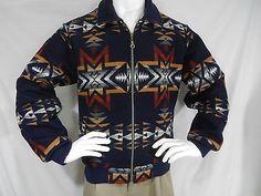 VTG Pendleton High Grade Western Wear Wool Indian Blanket Coat Jacket Mens S