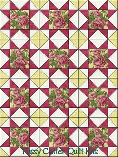 Butterfly Kisses SSI Pink Red Yellow Roses Floral Shabby Chic Flowers Fabric Easy Pre-Cut Quilt Blocks Top Kit Quilting Squares