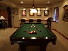 pool table room, where we spend all our time at my auntie's, trying to escape the awkwardness. Game Room Basement, Basement Pool, Basement Flooring, Basement Ideas, Basement Inspiration, Basement Makeover, Basement Bathroom, Keller Pool, Billard Bar