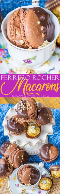 Chocolate macarons inspired by the famous Ferrero Rocher truffles, made with chocolate hazelnut shells and creamy hazelnut buttercream filling! Rocher Chocolate, Chocolate Hazelnut, Chocolate Truffles, Delicious Chocolate, Chocolate Flavors, Delicious Desserts, Meringue, Cookie Recipes, Dessert Recipes