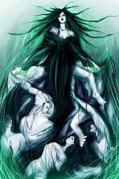 The Reign of Hela. Hela (or Hel), the Norse goddess of Death, embraces with her deathly wisps the souls of the Asgardian warriors. Inspired by the works of the French painter Delacroix.