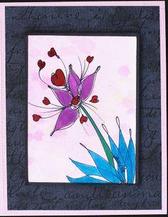 Greeting Card - Floral Design 1 on Pink