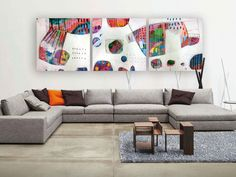 Original large 3 panel painting Abstract set of 3 by MirnaSisul, $1170.00