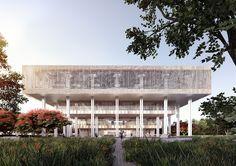 Het Delftse architectenbureau heeft de bibliotheek ontworpen met een getrapte gevel en subtiele gebruik van licht en schaduw.
