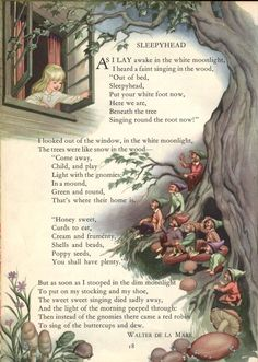 """I love this poem & illustration from my daughter's favorite book as a child: The """"Childcraft Storytelling & Other Poems"""" Volume © 1949 Field Enterprises All Rights Reserved. Nursery Rhymes Poems, Kids Poems, All Nature, Vintage Children's Books, Fairy Art, Children's Book Illustration, Book Illustrations, Faeries, Childrens Books"""