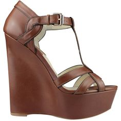 Brian Atwood Sema leather wedge sandals ($350) ❤ liked on Polyvore featuring shoes, sandals, wedges, heels, high heels, brown, brown heel sandals, heeled sandals, high heel shoes and brown wedge shoes