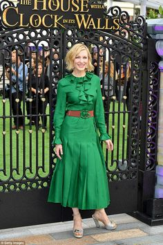 Chic: Cate Blanchett exuded elegance in a chic emerald gown as she posed up a storm at The House With The Clock In Its Walls premiere in London on Wednesday Green Fashion, Star Fashion, Girl Fashion, Cate Blanchett, Modest Dresses, Nice Dresses, Emerald Gown, Gucci Dress, Green Midi Dress