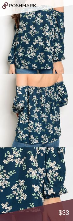 Green Jade Floral Off the Shoulder Blouse Green and white small floral print, long sleeve, elastic sleeve blouse. Poly. Tops Blouses