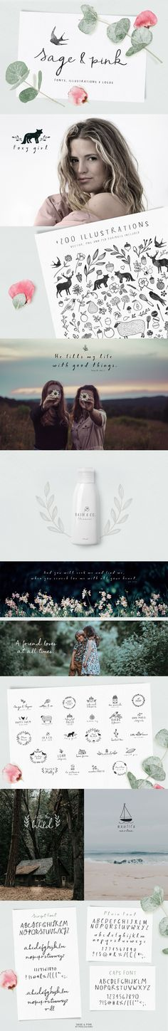 Sage Pink Font and Logos by pixelbypixel on creativemarket Sage Pink is a sweet design pack loaded with cute fonts hand drawn illustrations and premade logo templates. Cute Fonts, All Fonts, Script Fonts, Handwritten Fonts, Alphabet, Web Design, Graphic Design, Logo Design, Design Typography