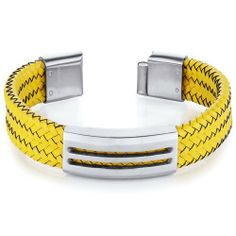 Mens Modern Yellow Woven Leather and Stainless Steel Bracelet Peora. $29.99. Save 75%!