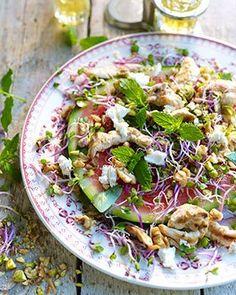 Watermeloensalade met geitenkaas en kipreepjes