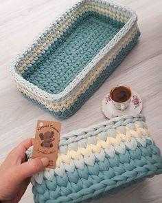 viereckigen korb h keln textilgarn sehr einfach und schnell h keln pinterest k rbchen. Black Bedroom Furniture Sets. Home Design Ideas