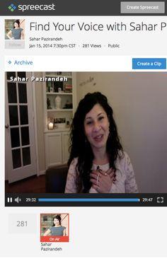 Spreecast Sahar Paz: Find Your Voice