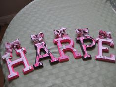 Custom Hanging Letters for Nursery or Child's Bedroom - Camo / Cowgirl Style - 6 X Designed to Match Your Theme