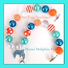 Miami Dolphin Team Chunky Bead Bubblegumbead by OneFunNecklace Find me on Etsy !! At ONEFUNNECKLACE
