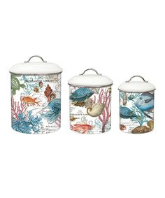 Take a look at this Sea Life Three-Piece Metal Canister Set today!
