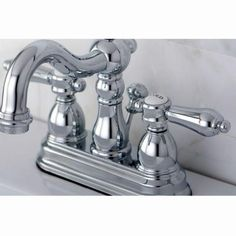 Kingston Brass Restoration 4 in. Centerset 2-Handle High Arc Bathroom Faucet in Polished Chrome-HKS1601BAL at The Home Depot $100