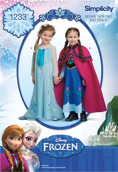 Simplicity Pattern for Disney's Frozen Costumes | Elsa and Anna (My pattern is numbered 0733, not 1233.)