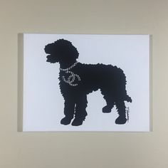 Golden Doodle Chanel Painting 14x11 Acrylic & Rhinestone on