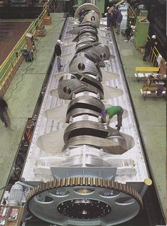 This is the crankshaft of Wartsila-Sulzer RTA96-C turbocharged two-stroke diesel ship engine