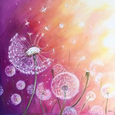 Buy 'Dandelion Ballet II', Acrylic painting by Natacha Chohra on Artfinder. Discover thousands of other original paintings, prints, sculptures and photography from independent artists. Dandelion Drawing, Dandelion Painting, Acrylic Painting Canvas, Canvas Art, Watercolor Paintings, Original Paintings, Watercolours, Dandelion Designs, Japanese Embroidery