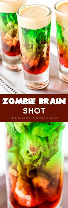 Zombie Brain Shot! This totally creepy and absolutely cool zombie brain shot is the ultimate Halloween drink. And it's as fun to make as it is to shoot - if you dare!   HomemadeHooplah.com