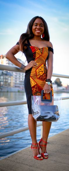 Totally crushing on this African print sheath dress that is perfect for special events like weddings, birthday parties and more. African fashion lover, Louisa, shares this stunning ankara dress and where to find a similar style. Black Fashion Bloggers, Black Women Fashion, Womens Fashion, African Clothing For Men, African Dresses For Women, African Print Fashion, Fashion Prints, Casual Street Style, Street Style Women