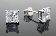 Sterling Silver Cubic Zirconia Stud Earrings  8mmSquare  Brightest CZ Available