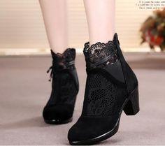 Women's Pure Color High Heel Short Boots With Zipper